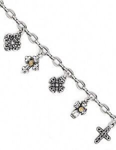 Brighton Eternity Cross Bracelet, Silver And Gold