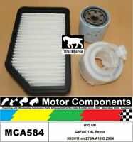 FILTER SERVICE KIT for KIA RIO UB G4FAE 1.4L Petrol 08/2011 on