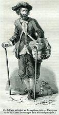 Libraio Ambulante nel 1600. Libri. Libreria. Stampa Antica + Passepartout. 1846