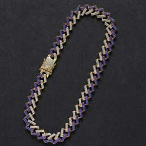 15mm 1500pc Rainbow CZ Miami Choker Cuban Link Chain Necklace Jewelry for Men