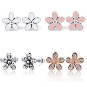 Flower Stud Earrings Daisy Womens Girls Jewellery Stone CZ Wedding Ladies New UK