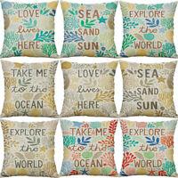 """18"""" Ocean Letter Cotton Linen Pillow Case Sofa Cushion Cover Throw Home Decor"""