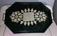 Vintage Green Wood Framed Glass Serving Tray Framing Handmade Lace