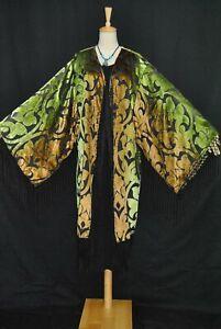 Classic Golden Color Fringe Jacket Burnout Velvet Coat Kimono Duster Kimono