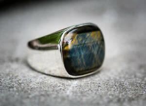 925 Sterling Silver Overlay Iron Tiger Eye Gemstone Designer Boys Mens Ring