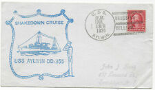 1935 NAVAL USS AYLWIN SHIP SHAKEDOWN CRUISE BRUSSELS BELGIUM 2c COVER