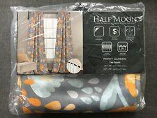 "Half Moon Room Darkening Insulated Poppy Garden Set of Two Panel 52"" x 84"" New"