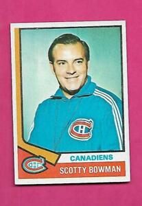 1974-75 TOPPS # 261 CANADIENS SCOTTY BOWMAN  ROOKIE EX-MT CARD (INV# D1984)