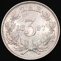 1897 | South Africa 3 Pence | Silver | Coins | KM Coins