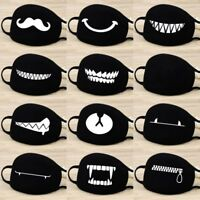 Adult Unisex Black Printed Anti-Dust Cotton Mouth Face Mask Half Masks Outdoor