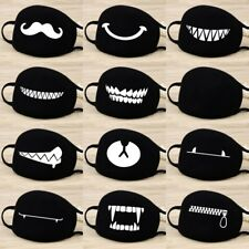 Women Men Cotton Face Masks Pattern Solid Black Mask Half Face Mouth Muffle
