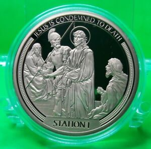 STATION I OF THE CROSS COMMEMORATIVE COIN PROOF VALUE $89.95
