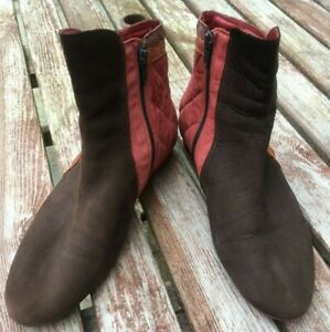 STUNNING THINK  BROWN SUEDE LEATHER & QUILTED ANKLE BOOTS SIZE 6  39
