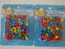 COLORED HEART ALPHABET BEADS -- LOT OF 2 PACKAGES, Approx. 360 BEADS