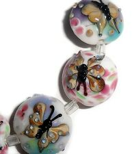 handmade lampwork lentil glass beads butterfly 19 mm 4 beads butterfly