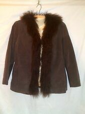 CHICOS DESIGN BROWN SUEDE   LEATHER JACKET WITH LONG MONGOLIAN FUR TRIM  SIZE 1
