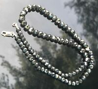 Black Diamond Necklace 4mm Aaa Certified Beads Silver 4 mm Inches Faceted 925