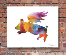 FLYING PIG Contemporary Watercolor ART 11 x 14 Print