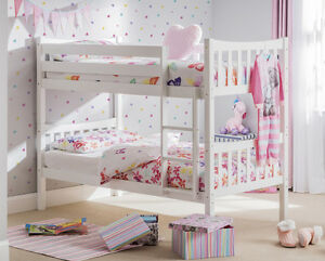 Bright White Lacquered Bunk Bed Child's Single Bed Boy or Girl