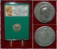 Roman Empire Coin MARCUS AURELIUS Concordia Seated on Reverse Silver Denarius