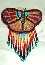 Barrette Beaded Butterfly w Fringe  French clip closure Hair accessory #24