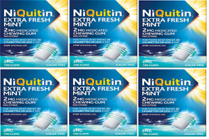 NiQuitin 2mg Mint Chewing Gums 6x Box of 100 Gums,=600 In Total EXPIRY JULY 2022