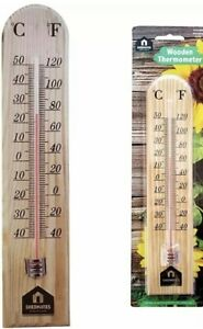 Wooden Wall Thermometer Greenhouse Conservatory Indoor/Outdoor -40 to +50 Temp