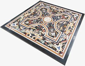 Black Marble Side Coffee Corner Top Table Pietra Dura Inlay Patio Decor E469