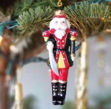"nutcracker soldier king beard crown sword ceramic Christmas ornament 4""  10.5 cm"