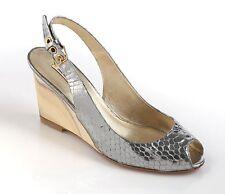 MIU MIU PRADA Metallic Silver Snakeskin Bamboo Wedge Peep Toe Heels Size 38.5