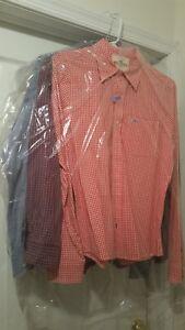 Men's Hollister-Medium and Tricots St. Raphael - Large Dress Shirts (3 total)
