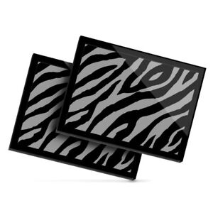 2x Glass Placemats 20x25cm BW - Zebra Animal Print Teal  #38488