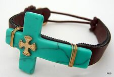 Turquoise Cross Leather Band Women's Bracelet Gold Hook New Bracelets