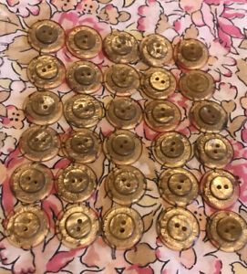 Vintage Gold Lucite Buttons X Matching Set Of 30 X 1.5cm - Raised Middle - Fab