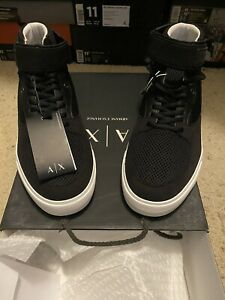 Armani Exchange Mesh and Faux Suede High top Sneakers