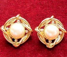 Vintage Gold Tone Faux Pearl & Rhinestones Clip On Earrings 1""