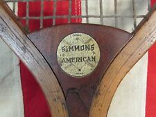 Vintage 1910s Simmons American Wood Tennis Racquet Baseball Logo Antique Rare