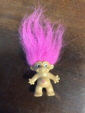 "Russ Berrie 4"" Pink Hair Troll With Diamond On Stomach & Keychain Ring Pre Owned"