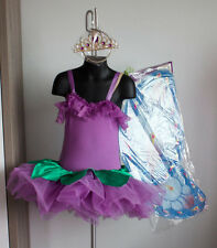 Wolf Fording Purple Flower Fairy Princess Tutu Costume Dress Wings Tights S f7