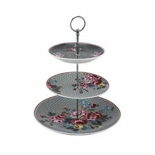 Pippa 3 Tier Cake Stand, Bone China, Stainless Steel