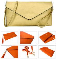 Metallic Gold Large Oversized Faux Leather Envelope Clutch Bag Long Strap Plain