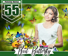 55 Butterfly Photo Overlays, Realistic Natural flying, Photoshop effect, png