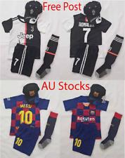 New 2020 Kids Soccer Jersey #7 Ronaldo #10 Messi Adult Kit Top+Short+ Cap socks