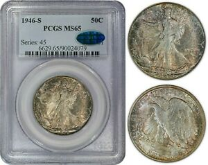 1946-S Walking Liberty Half Dollar 50c PCGS MS65 CAC Nicely Toned