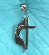 Sterling Silver  Large Methodist Cross & Flame Pend