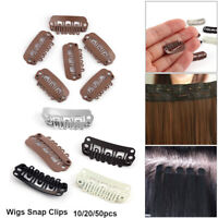 50 PCS 24mm U Shape Snap Metal Clips for Hair Extensions Weft Clip-on Wig Black
