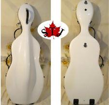 White color fiberglass hard cello case 1/2 with wheells Beijing