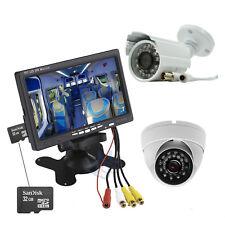 """Kit Videosorveglianza Monitor DVR 7"""" Telecamere CCTV e Dome LED Scheda SD 32GB"""