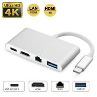 4in1 Type C to HDMI 4K RJ45 Ethernet Lan Network Card USB 3.0 USB-C For Macbook