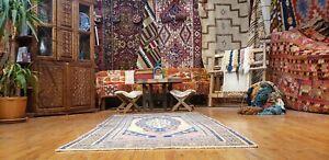 "Beautiful Antique 1930-1939s Wool Pile Natural Dye Oushak Area Rug 3'9""×6'7"""